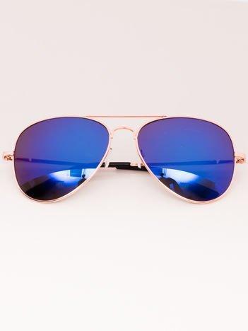 Okulary przeciwsłoneczne unisex Pilotki Lustrzanki złote Szkło niebieskie System flex