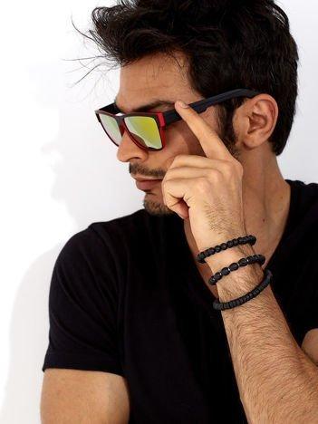 Okulary przeciwsłoneczne w stylu WAYFARER czerwono-czarne żółta lustrzanka