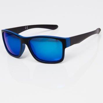 Okulary przeciwsłoneczne w stylu WAYFARER niebiesko-czarne niebieska lustrzanka