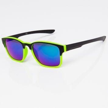 Okulary przeciwsłoneczne w stylu WAYFARER zielono-czarne szkło lustrzanka niebiesko-zielone