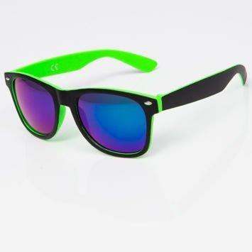 Okulary przeciwsłoneczne w stylu WAYFARER zielono-czarne szkło lustrzanka zielono-niebieska