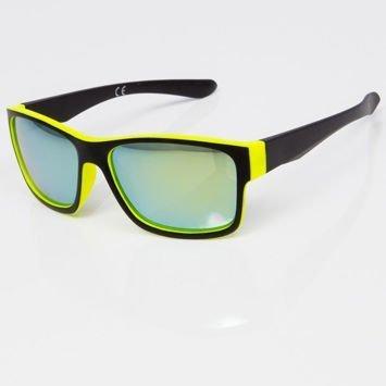 Okulary przeciwsłoneczne w stylu WAYFARER żółto-czarne szkło lustrzanka morskie