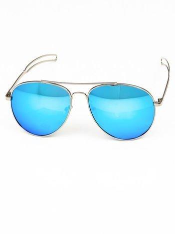 Okulary w stylu PILOTKI AVIATORY niebieska lustrzanka