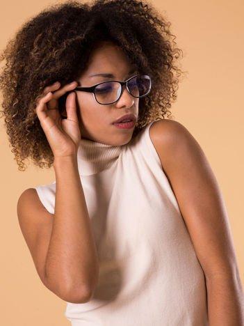 Okulary zerówki z antyrefleksem biało-czarne ramki z połyskiem
