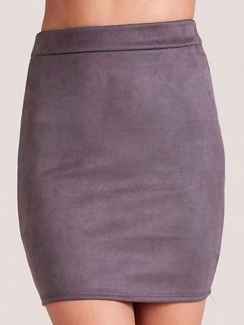 Ołówkowa spódnica z imitacji zamszu szara