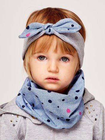 Opaska do włosów dla dziewczynki z kokardą w grochy szaro-niebieska