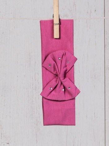 Opaska elastyczna dla dziewczynki z kokardką i cyrkoniami różowa