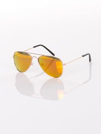 PILOTKI AVIATORY Z LUSTERM Stylowe złote okulary dziecięce z filtrami UV