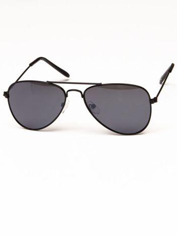 PILOTKI AVIATORY Z LUSTREM Stylowe czarne okulary dziecięce z filtrami UV