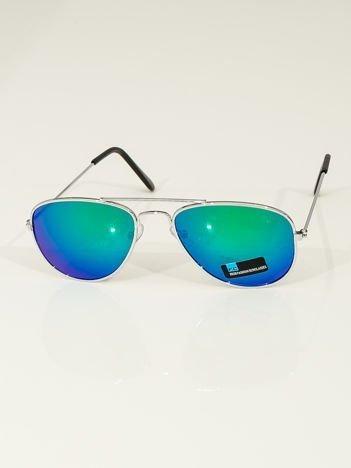 PILOTKI AVIATORY Z LUSTREM Stylowe srebrne okulary dziecięce z filtrami UV