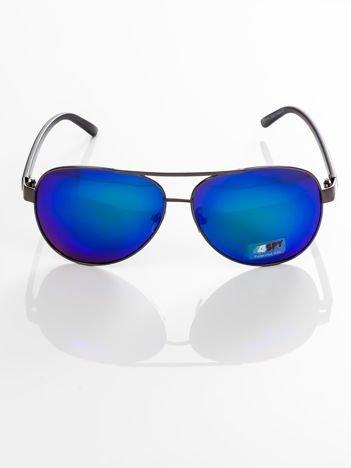 POLARYZACJA- męskie okulary przeciwsłoneczne 4SPY -pilotki lustrzane ,GRATISY