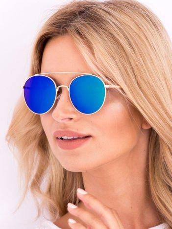 POLARYZACYJNE okulary typu LENONKI NIEBIESKOZIELONE LUSTRZANKI + miekkie etui i ściereczka gratis