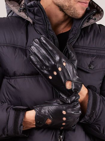 PREMIUM QUALITY Czarne Skórzane Męskie Rękawiczki CAŁUSKI