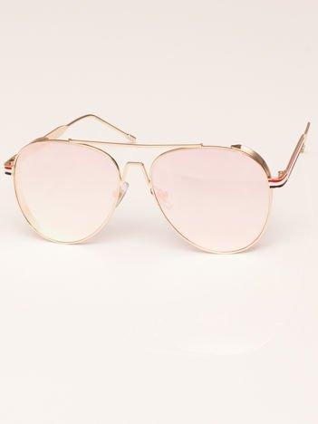 PREMIUM Różowe Okulary Przeciwsłoneczne Pilotki AVIATOR