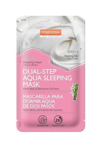 PUREDERM Koreańska 2-etapowa maska nawilżająco-odżywiająca na noc PEPTYDY & BAMBUS 3+10 g