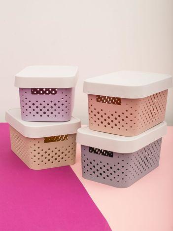 Pastelowe jasnoróżowe pudełko do przechowywania z pokrywką