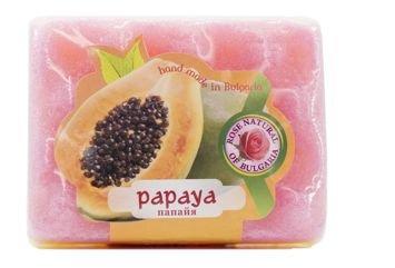 Peelingujące mydło-gąbka Papaja