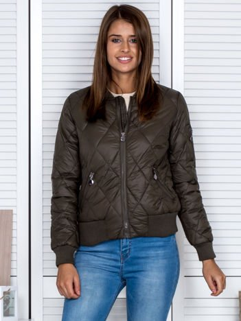 Pikowana kurtka bomber jacket khaki