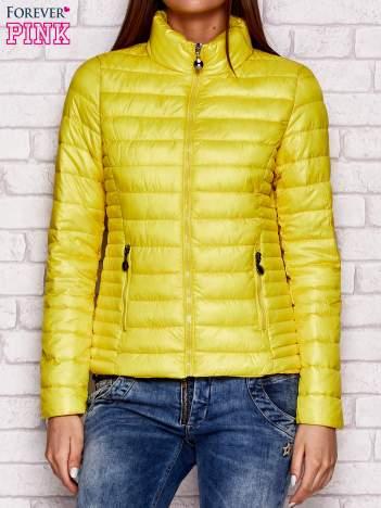 Pikowana kurtka przejściowa żółta