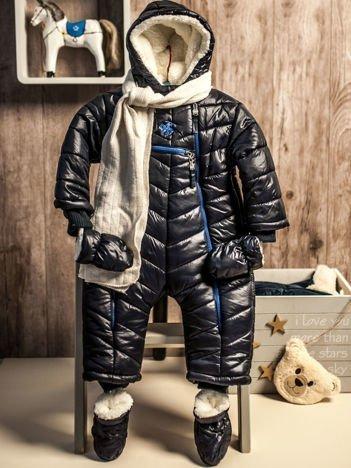 Pikowany zimowy kombinezon dziecięcy granatowy