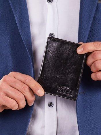 Pionowy portfel bez zapięcia czarny