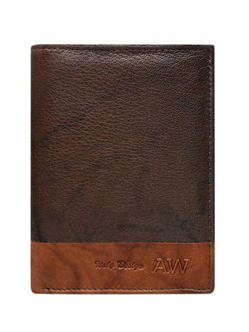 Pionowy portfel męski bez zapięcia ciemnobrązowy