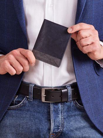 Pionowy portfel męski bez zapięcia granatowy