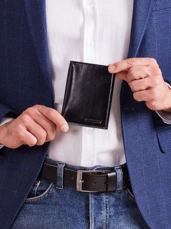 Pionowy portfel ze skóry czarny