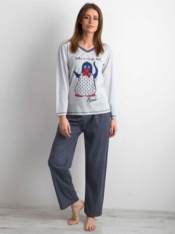 Piżama dwuczęściowa we wzory szaro-granatowa