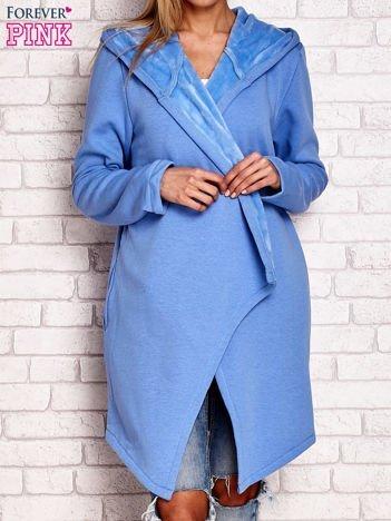 Płaszcz dresowy z kapturem niebieski
