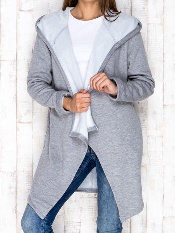 Płaszcz dresowy z kapturem szary melanżowy
