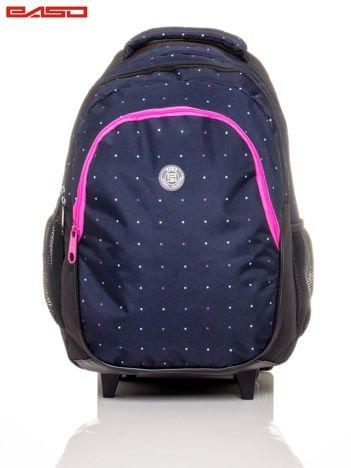 Plecak szkolny na kółkach w kropki