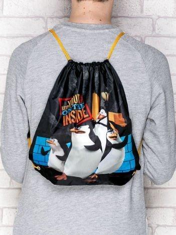 Plecak typu worek z nadrukiem Pingwiny z Madagaskaru