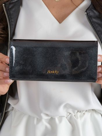 Podłużny lakierowany portfel czarny