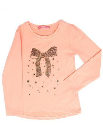 Pomarańczowa bluzka dla dziewczynki z biżuteryjną kokardą