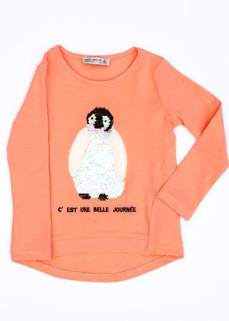 Pomarańczowa bluzka dla dziewczynki z pingwinem
