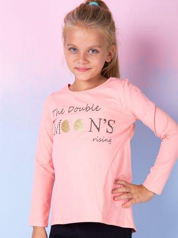 Pomarańczowa bluzka dla dziewczynki z tekstowym nadrukiem