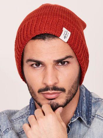 Pomarańczowa czapka zimowa męska