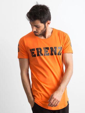 Pomarańczowa koszulka męska z napisem