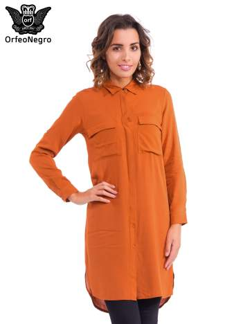 Pomarańczowa koszulotunika z kieszonkami