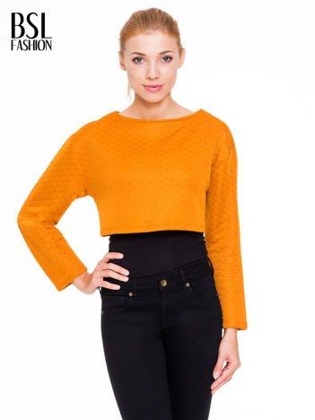 Pomarańczowa pikowana bluzka cropped