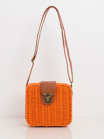Pomarańczowa pleciona torebka
