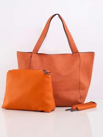 Pomarańczowa pojemna torba z ekoskóry