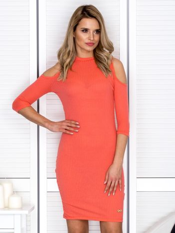 Pomarańczowa sukienka cold arms prążkowana
