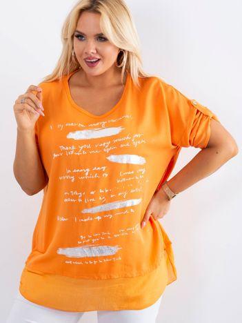 Pomarańczowa tunika plus size z nadrukiem
