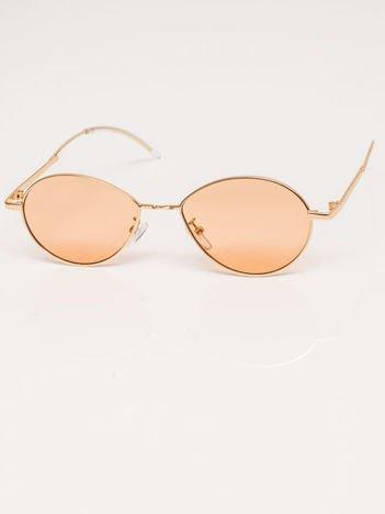 Pomarańczowe Metalowe Owalne Okulary Unisex