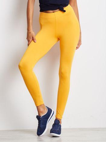 Pomarańczowe długie cienkie legginsy do biegania