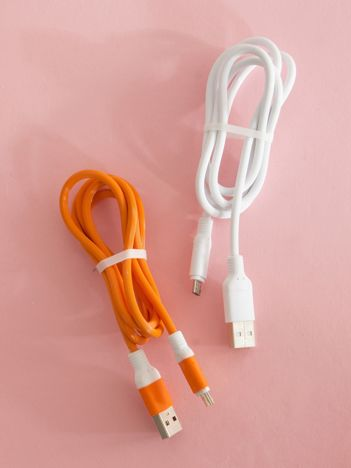 Pomarańczowo-białe kable USB do telefonu ANDROID 2 sztuki