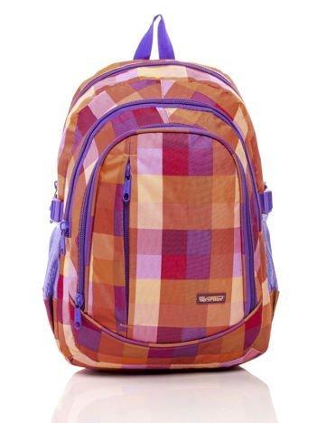 Pomarańczowy plecak szkolny w kolorową kratkę
