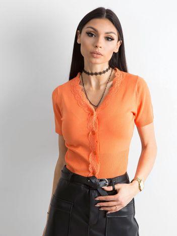Pomarańczowy rozpinany sweter z koronką